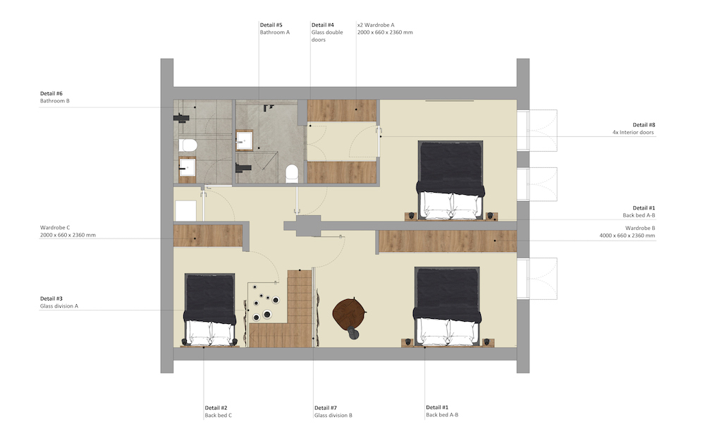 Floor plan of the basement of the Admiraal apartment designed by HAM design