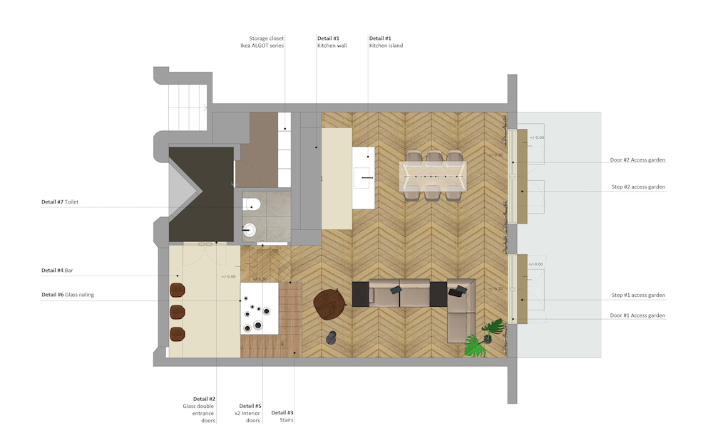 Floor plan of the ground floor of the Admiraal apartment