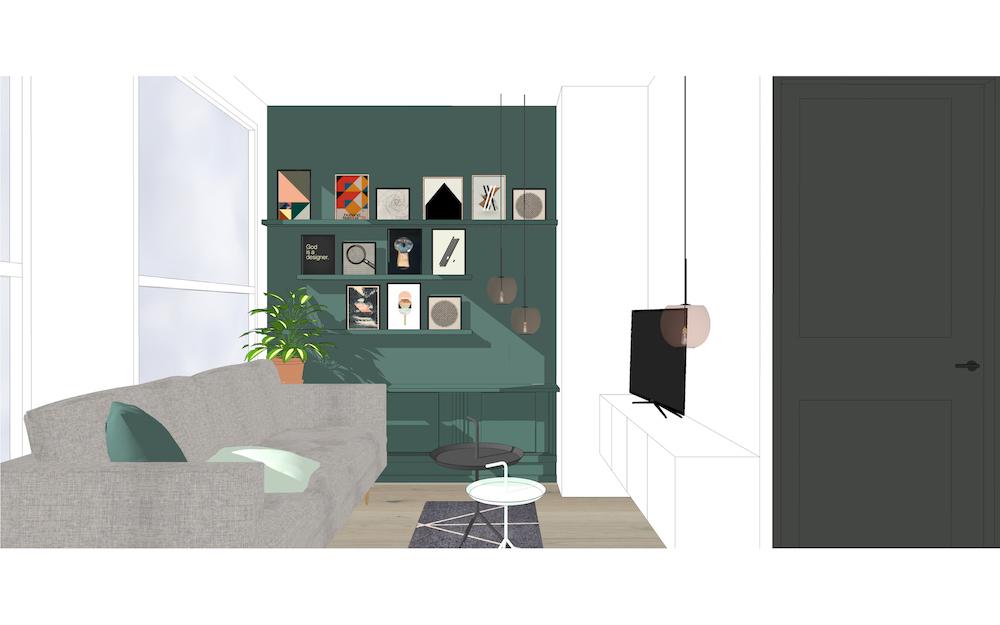 3D afbeelding van het Oldenbarneveldt appartement – 3