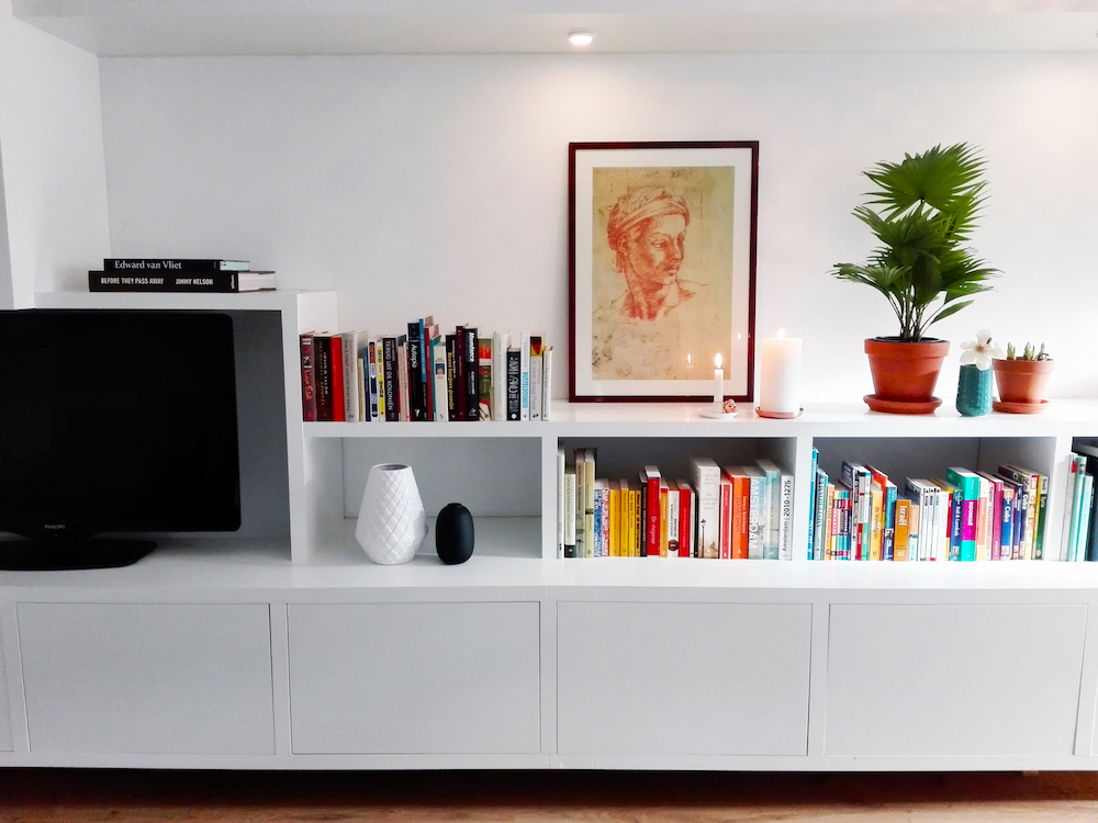 Photo of custom-built floating wall unit - books 2