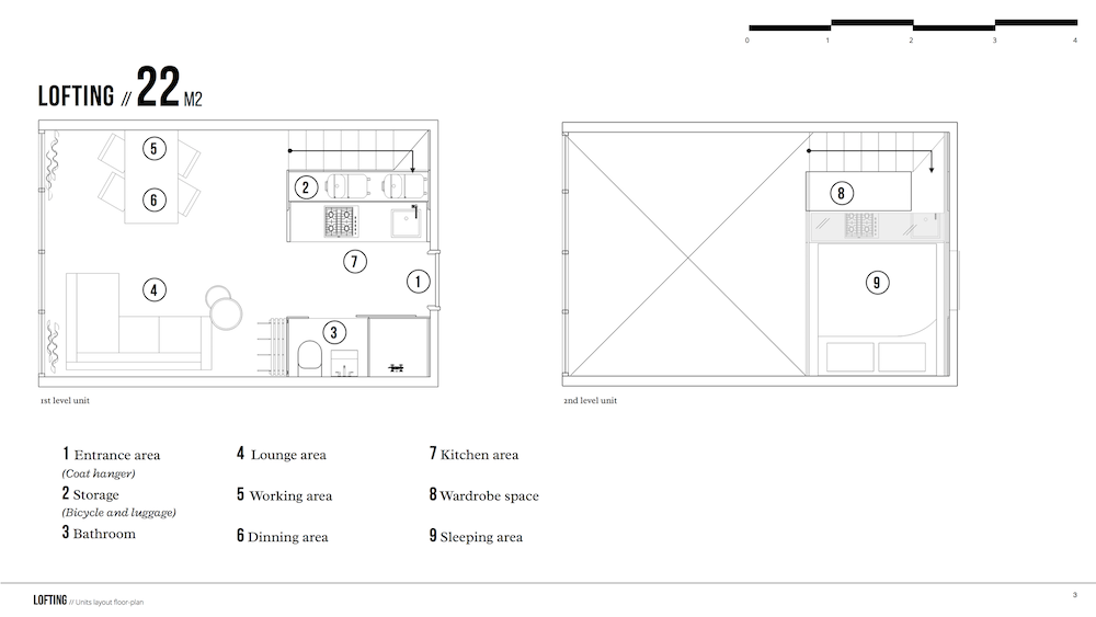 Floor plan of the Lofting medium sized unit