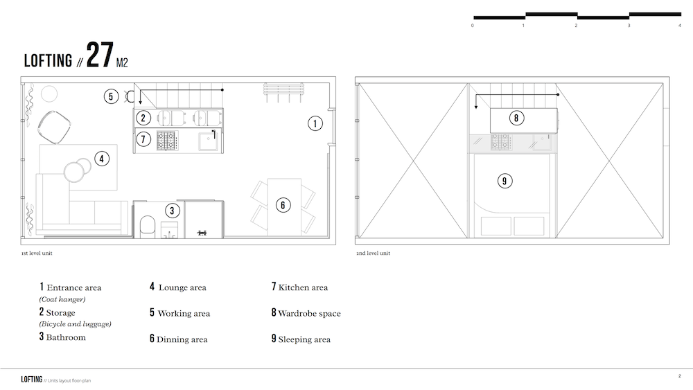 Floor plan of the Lofting large sized unit
