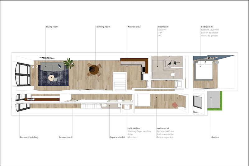 Example of an interior floor plan by HAM design